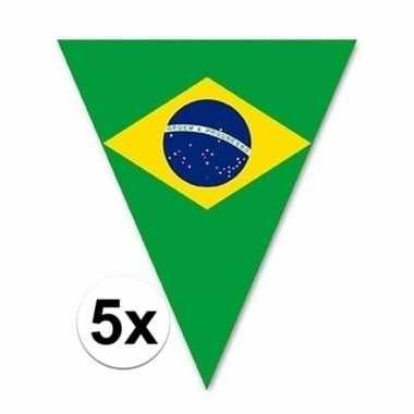5x braziliaanse vlaggenlijn voor buiten 5 m