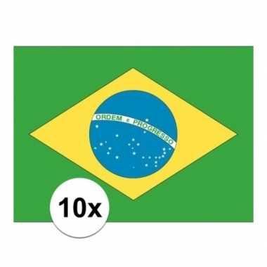 Braziliaanse 10x stuks stickers brazilie vlaggen