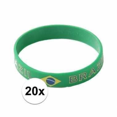 Braziliaanse 20x polsbandjes vlag brazilie