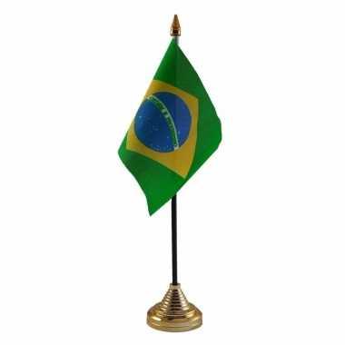 Braziliaanse brazilie tafelvlaggetje 10 x 15 cm met standaard
