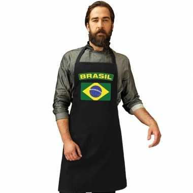 Braziliaanse brazilie vlag barbecueschort/ keukenschort zwart volwass