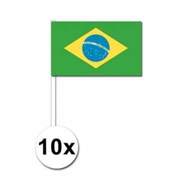 Braziliaanse  Brazilie zwaai vlaggetjes 10 stuks