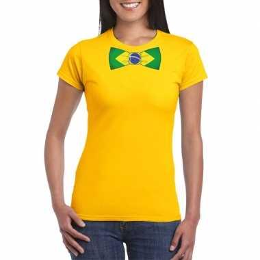 Braziliaanse geel t-shirt met brazilie vlag strikje dames