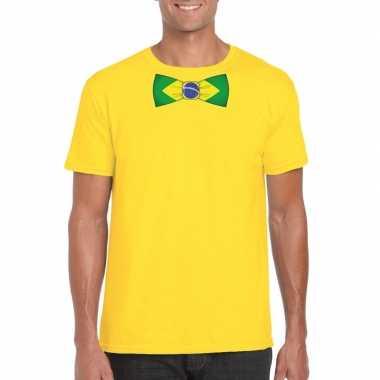 Braziliaanse geel t-shirt met brazilie vlag strikje heren