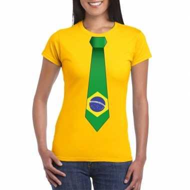 Braziliaanse geel t-shirt met brazilie vlag stropdas dames