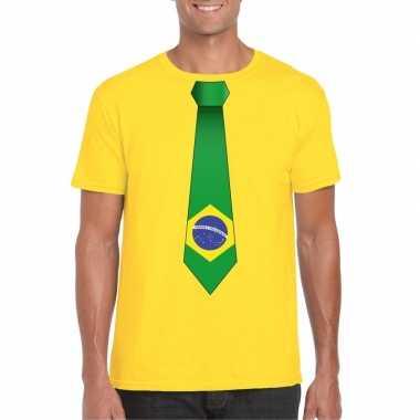 Braziliaanse geel t-shirt met brazilie vlag stropdas heren