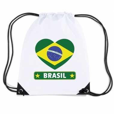 Braziliaanse sporttas met trekkoord brazilie vlag in hart