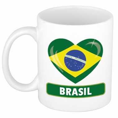 Braziliaanse vlag hartje koffiemok 300 ml