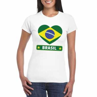 Braziliaanse vlag in hartje shirt wit dames