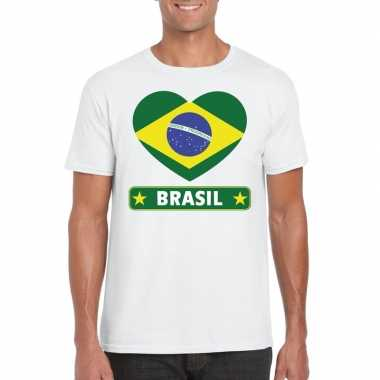 Braziliaanse vlag in hartje shirt wit heren
