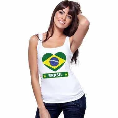 Braziliaanse vlag in hartje singlet wit dames