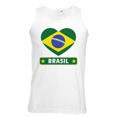 Braziliaanse vlag in hartje singlet wit heren