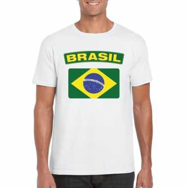 Braziliaanse vlag shirt wit heren
