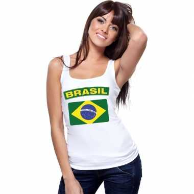 Braziliaanse vlag singlet wit dames