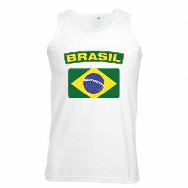 Braziliaanse vlag singlet wit heren