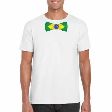 Braziliaanse wit t-shirt met brazilie vlag strikje heren