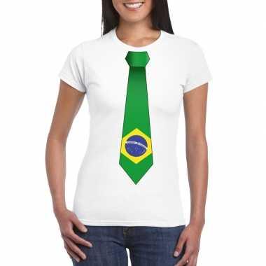 Braziliaanse wit t-shirt met brazilie vlag stropdas dames