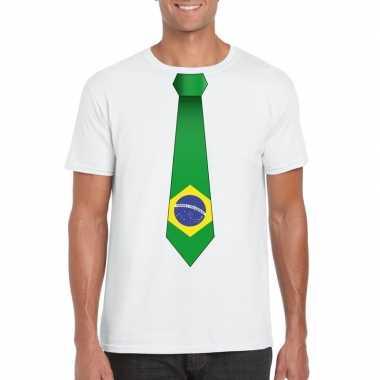 Braziliaanse wit t-shirt met brazilie vlag stropdas heren