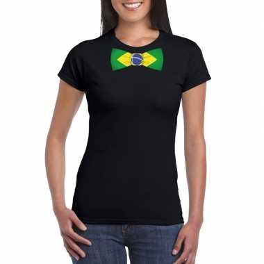 Braziliaanse zwart t-shirt met brazilie vlag strikje dames