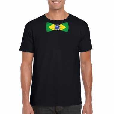 Braziliaanse zwart t-shirt met brazilie vlag strikje heren