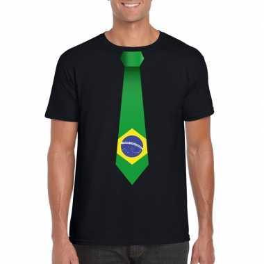 Braziliaanse zwart t-shirt met brazilie vlag stropdas heren