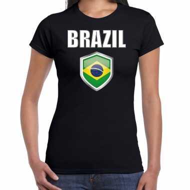 Brazilie landen supporter t-shirt met braziliaanse vlag schild zwart dames